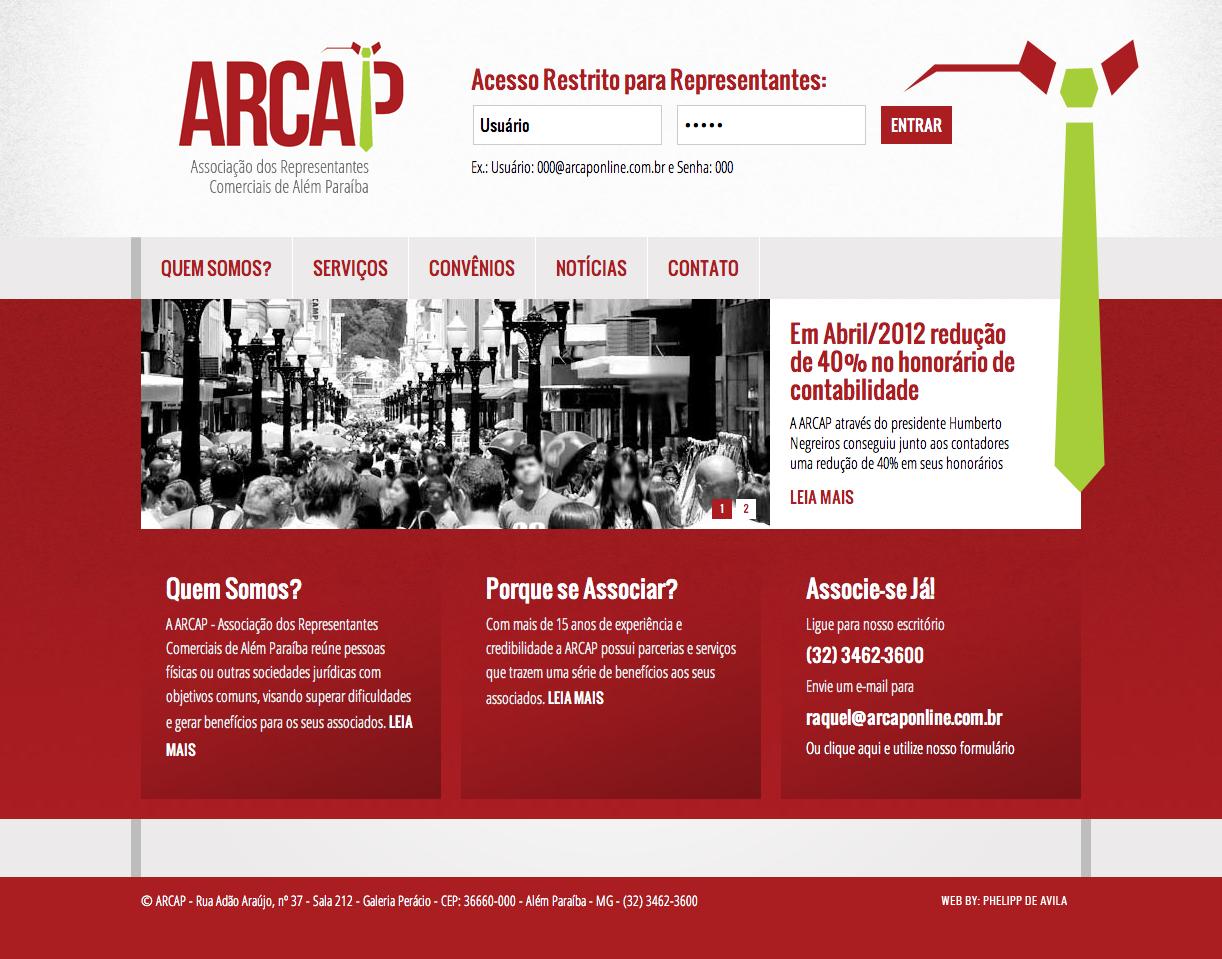 Desenvolvimento de Website para a Associação dos Representantes Comerciais de Além Paraíba – ARCAP